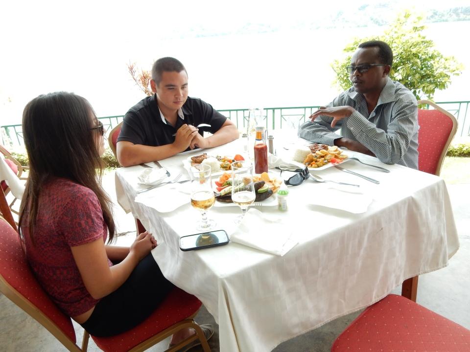 Yasin, Steven, Teresa, dinner by the lake.