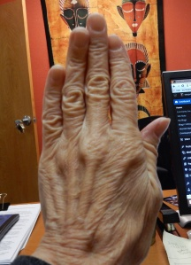 It was a little hard to put my wrinkled hand on display.