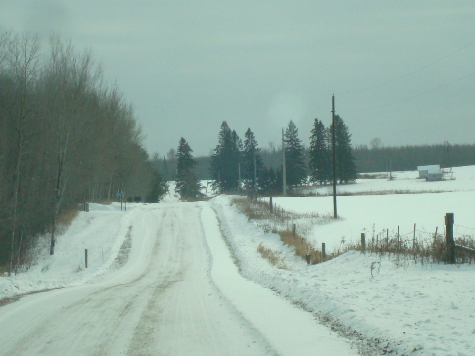 """Down the snowy road to the """"Old Place."""""""