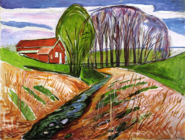 Edvard Munch - Spring landscape at the red house 1935